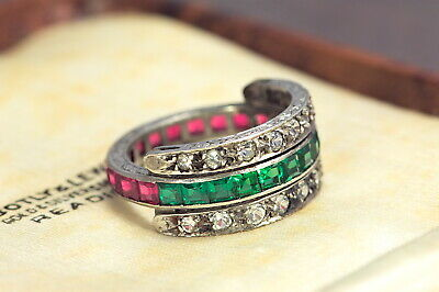 Antique Art Deco Silver Chrome Tourmaline Ruby White Sapphire Eternity Ring