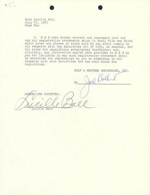 """Lucille """"Lucy"""" Ball - Contract Signed 07/25/1967"""