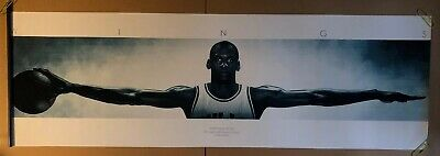 Wings Michael Jordan Vintage Poster Chicago Bulls Nike William Blake Long XL NBA