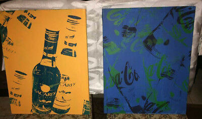 One of a  Kind Pop Art Bacardi Rum Coca Cola Coke Brewiana Advertising  16 x 20