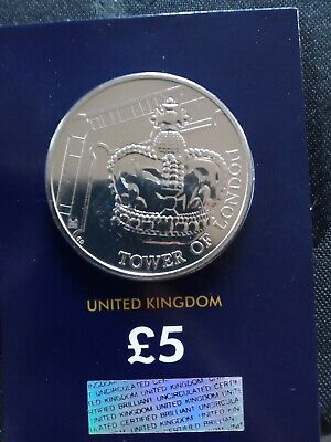 Tower of London THE CROWN JEWELS Five Pound Coin looking awesome UNCIRCULATED