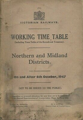 Oct 1947 VR NORTHERN & MIDLAND WORKING TIMETABLE: Complete but Poor Condition