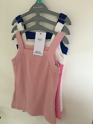 New M & S Girls Tops Vests Pack Of 3 Age 5-6