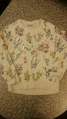 Girls Floral Long Sleeved Jumper Age 9 Years From Next.