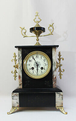 Antique 1880 French  Two Coloured Marble Clock  Heavy