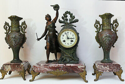 French  Clock Set Art Nouveau Heavy Marble Statue Cherubs Movement Japy Freres