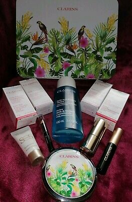 Clarins 12 Peice Gift Set - Include Tin, Mirror, Pouch & Perfume