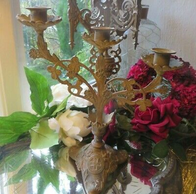 Charming Vintage French  Three Branch Brass Candelabra ~ With Floral Detail