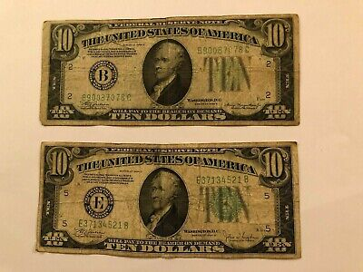 USA 10 Dollar Series 1934 A - 1934 C FEDERAL RESERVE NOTES LOT FANCY NUMBERS
