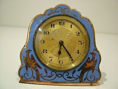 Antique 1920'S Blue Enamel & Copper Easle Stand Travel Clock Working (987)