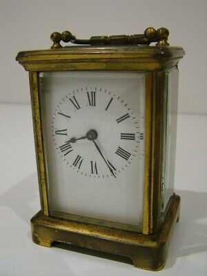 Working Antique Solid Brass Beveled Glass Carriage Clock Mantle (988)