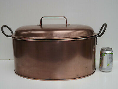 Antique Extra Large Copper Poacher Steamer Complete With Strainer