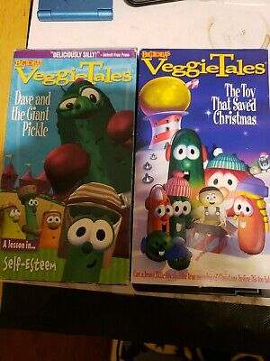 Veggie Tales(2)Vhs Bundle the toy that saved Christmas&Dave and the giant pickle