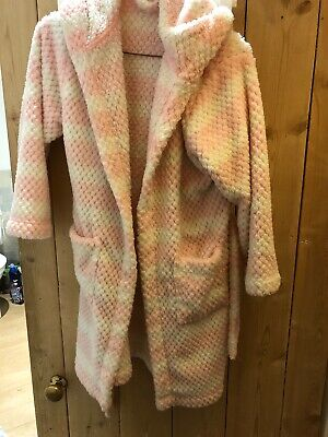 John Lewis Super soft Hooded Dressing gown, Pink and White Age 9