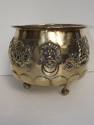 Antique Brass Jardiniere With Lion Handles Ball & Claw Feet & Relief Decoration