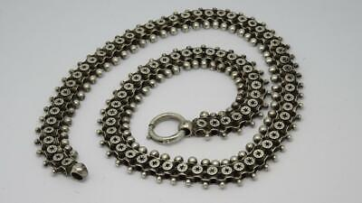 *Beautiful Antique Victorian Sterling Silver Fancy Chain Collar Necklace c1880*
