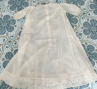 Baby or Large Baby Doll Gown, Antique, White Cotton, Gown Estate Trunk Find