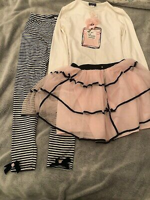 Kate Mack 3piece Set Top Tutu Skirt Leggings Age 10