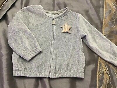 Little Girls Next Grey Velour Zip Up Jacket With Star Detail Age 1.5-2  Yrs VGC