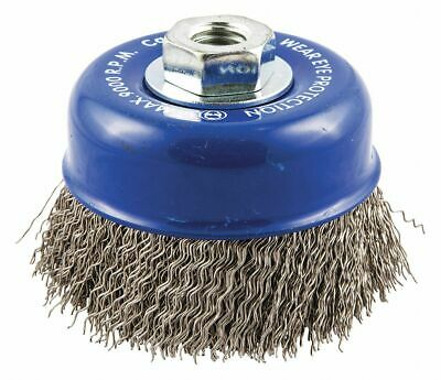 """4"""" Crimped Wire Cup Brush, Arbor Hole Mounting, 0.020"""" Wire Dia. 7/8"""" Bristle"""