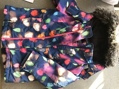 Next Multi Coloured Girls Padded Winter coat Warm Fleece Lining Size 3-4 years