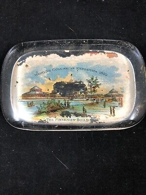 WCE Chicago 1893 Worlds Fair Fish Fisheries Building Glass Paperweight
