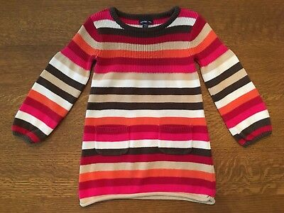 baby Gap Toddler Girls Brown Orange Red Pink Stripe Knit Dress - 18-24M - EUC