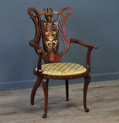 Attractive Antique Victorian Inlaid Mahogany Bedroom Fireside Arm Chair