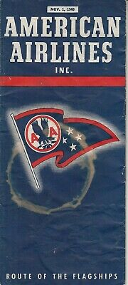 Vintage  1940 AMERICAN AirLines Route of the Flagships Map  Brochure