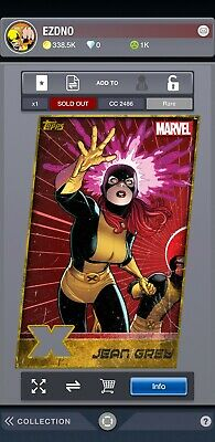 DIGITAL Topps MARVEL Collect Card Trader Jean Grey Rare X-MEN GOLD DIECUT Insert