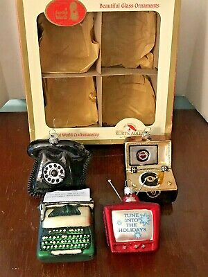 NEW Box of 4 Kurt Adler Early Years Glass Ornaments Phone, Record Player, TV