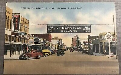 "Greenville,Texas., Downtown ""The Whitest People & Blackest Land "" 1924 Postcard"