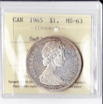 Canadian Canada silver dollar $ 1 Coin 1965 MS 63  SB PT5 ICCS Certified