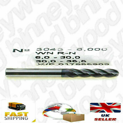 2 x Guhring 6 mm Solid Carbide Ball Nose End Mill; VHM 4-fluted; No 3043;
