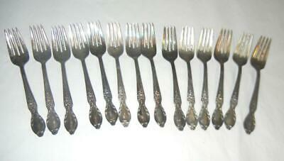 (14) Wm Rogers & Son Victorian Rose Silverplate Salad Forks Flatware #2