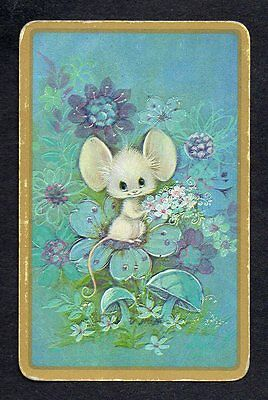 #920.656 Vintage swap card -FAIR- Mouse on blue flowers with gold border