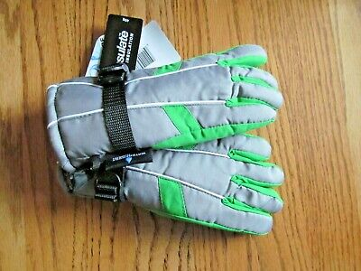 Boy's THINSULATE Waterproof GLOVES~Gray w/Bright Green~Size 8-12~NEW w/tags