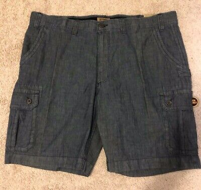 "Brand New Mens Foundry Big & Tall Med Blue Chambray Jean Shorts W48 10"" Inseam"