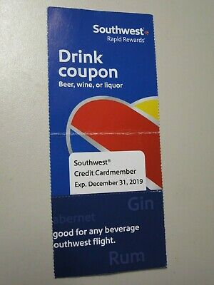SOUTHWEST Airlines One (1) Drink Fly Coupon Voucher Beer Wine Liquor Cocktails