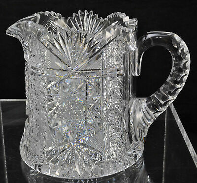 American Brilliant Period Cut Crystal Cider Pitcher ABP 19th Century