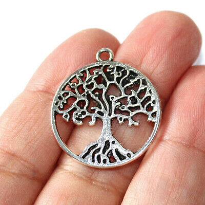 10 Tree of Life Connector Charms Antique Silver Tone 2 Sided SC7968
