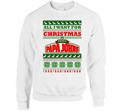 All I Want For Christmas Is Papa John's Pizza Pizzeria Fast Food Restaurant Logo