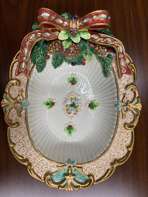 Fitz & Floyd Classics Christmas Florentine Oval Serving Dish, bright colors