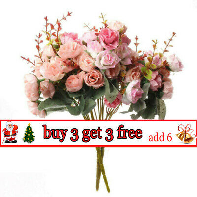 21Heads Artificial Silk Flowers Bouquet Roses Leaf Bunch Wedding Home Party YL