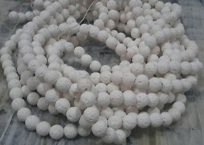Natural Lava Beads White 6mm Round 61cm Strand. Free postage. Oz Seller