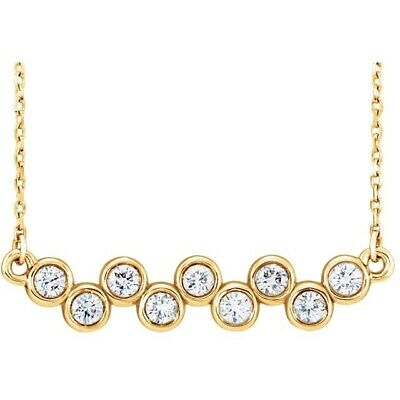 Bar Diamond Bezel Set Necklace Ctw ½ ctw 14kt Rose Yellow or White Gold