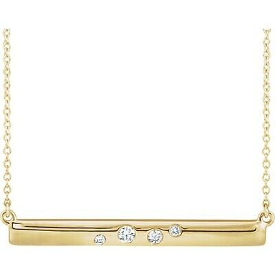 Bar Diamond Necklace ctw 1/10 ctw 14kt Rose Yellow or White Gold