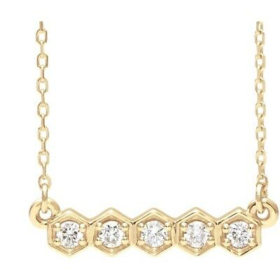 Bar Diamond Necklace 1/5 ctw  G-H Color Petite 14Kt Rose Yellow or White Gold