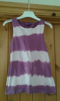 Girls M&S Tie Dye Purple Top Age 7 Years VGC!
