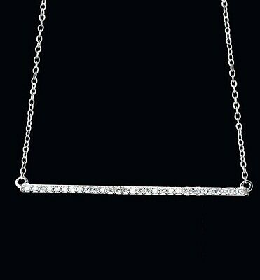 Diamond Bar Necklace 1/6ctw 14Kt White Rose Yellow Gold 16-18 in Chain Msrp:$759